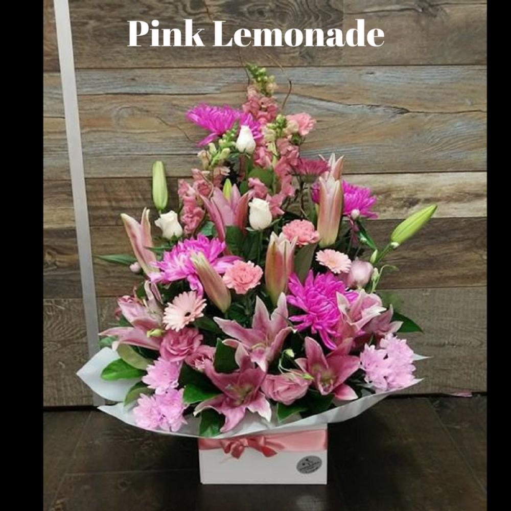 Pink lemonade box arrangement chatswood hills florist at springwood pink lemonade box arrangement mightylinksfo