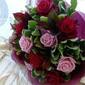 6 Pink and 6 Red Roses